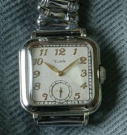 Antique Elgin square white gold filled 1920s wristwatch