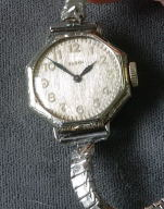 Elgin 14K white gold antique octangular ladies watch