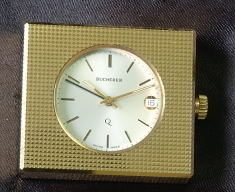 Bucherer gold plated travel alarm - 1970's