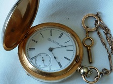 Big Elgin Hunter case key wind/key set pocket watch circa 1885