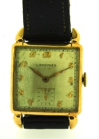 Longines square tank 14k gold 1950 presentation watch
