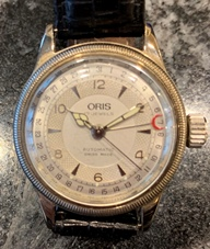 Oris pointer calander automatic skeleton back circa 1984