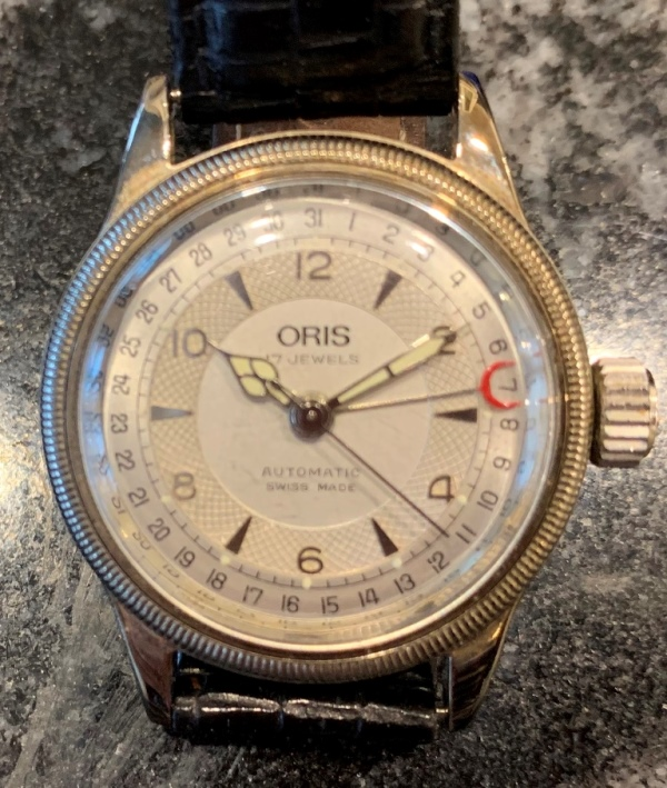 f29cd68174a Category  Sold Watches.  5655 Oris 7400 pointer calander automatic skeleton  back circa 1984